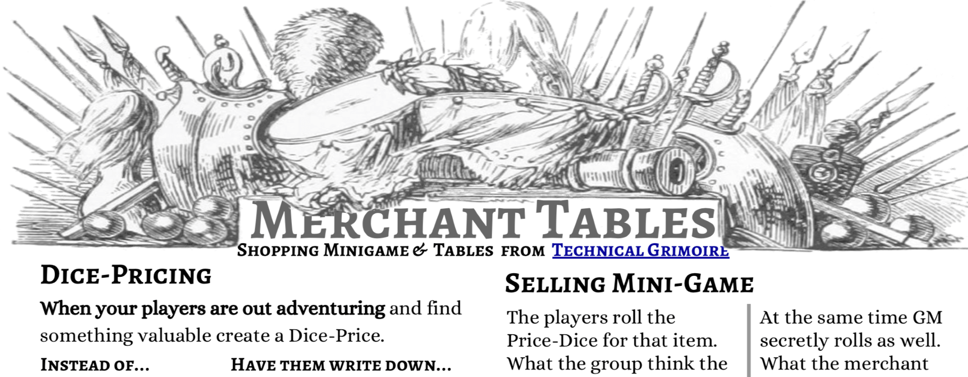 Merchant Tables